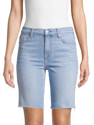 7 For All Mankind Frayed Denim Bermuda Shorts In Light Blue