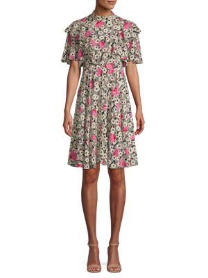 Valentino Abstract-Print Silk Mini Dress In Black Pink