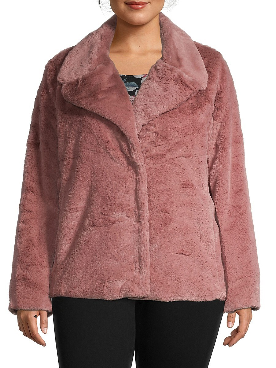 Women's Plus Notched Faux Fur Jacket