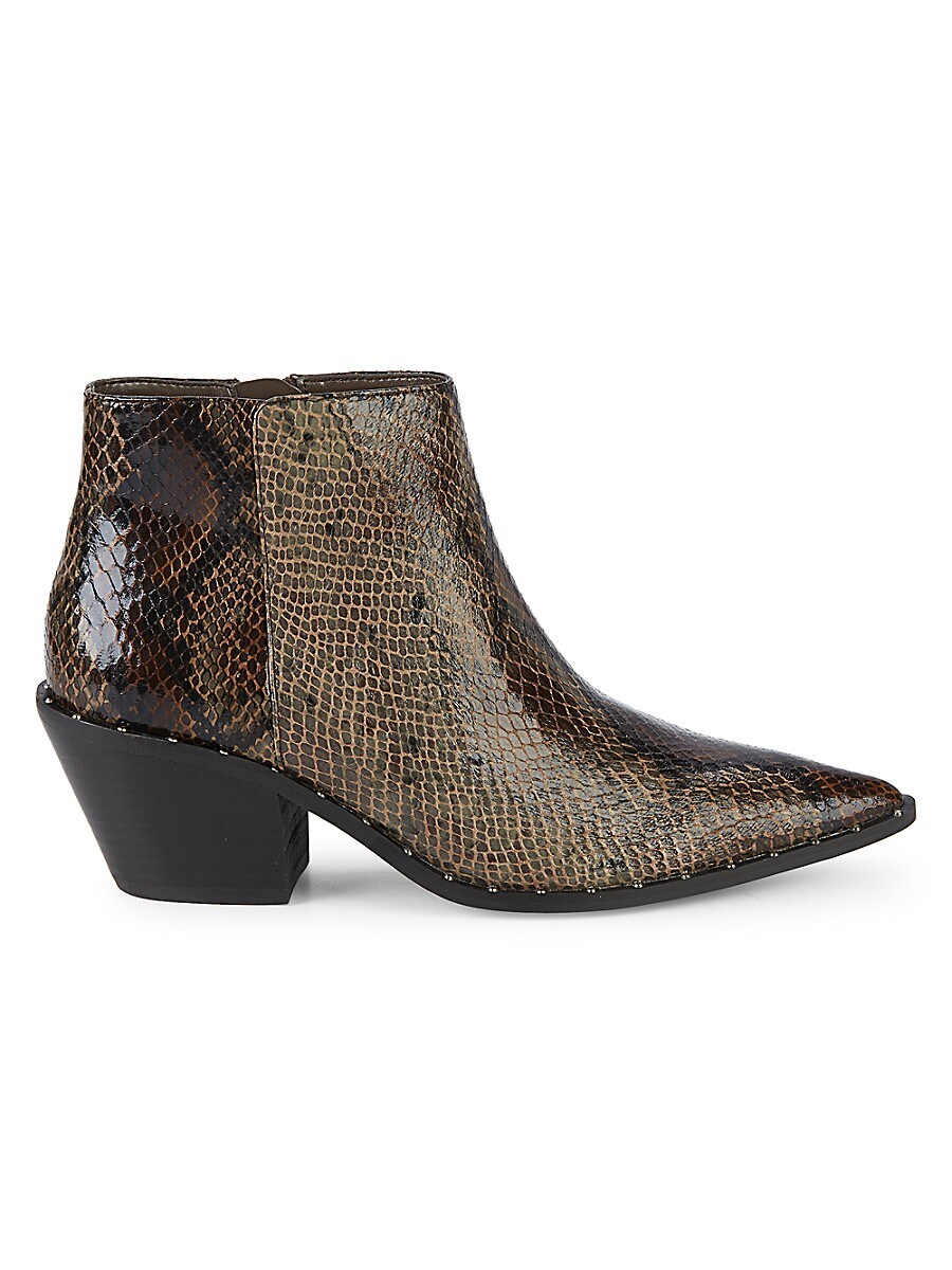Women's Snakeskin Embossed Faux Leather Ankle Boots