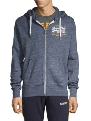 Superdry Logo Cotton-Blend Hooded Sweatshirt In Pacific Blue