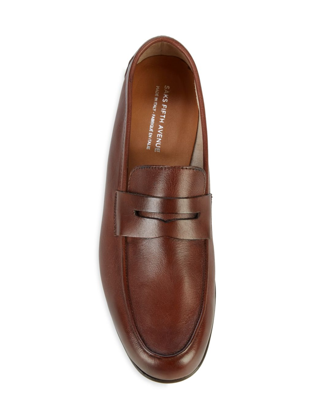 Saks Fifth Avenue Made in Italy Flex Leather Penny Loafers