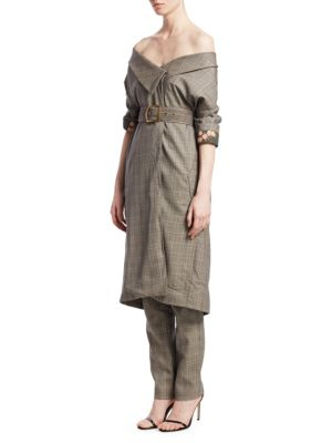 Johanna Ortiz Coats Tradition Belted Check Wool Coat