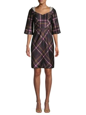Honor Plaid Silk-Blend Mini Dress