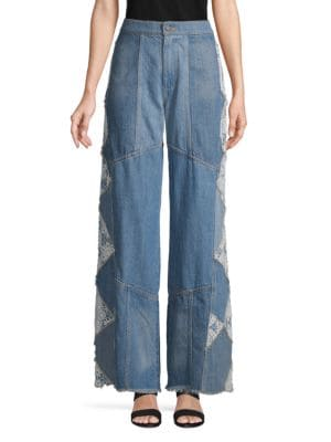 Free People Jeans Wide-Leg Fringe Jeans