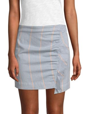 3x1 Skirts Jane Ruffled Striped Mini Skirt