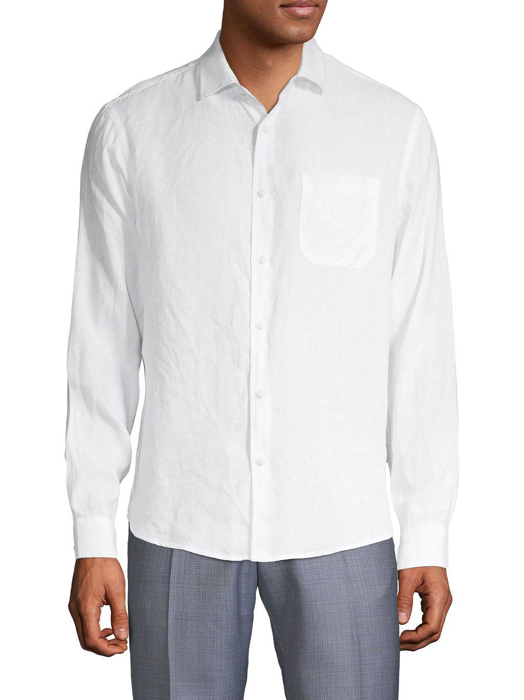 Saks Fifth Avenue Spread Collar Linen Button-Down Shirt