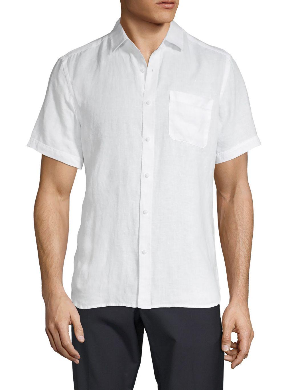Saks Fifth Avenue Short-Sleeve Linen Shirt