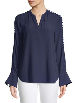 Joie Abe Button Sleeve Blouse In Midnight