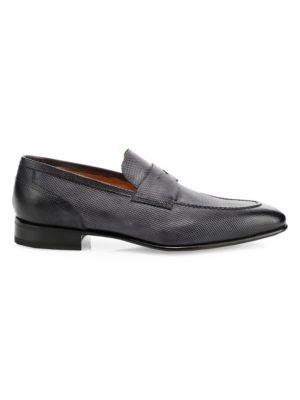 Santoni Loafers Felipe Textured Leather Loafers