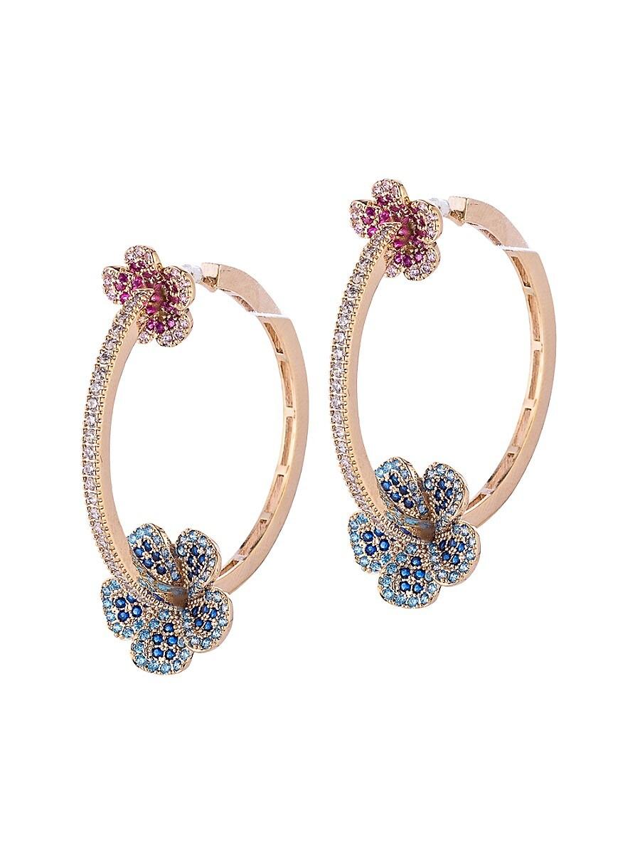 Women's Luxe Multicolored Crystal Hoop Earrings