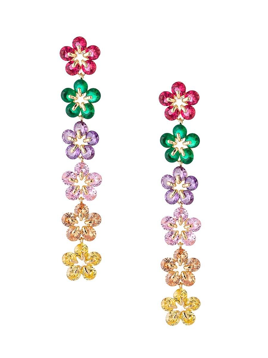 Women's Luxe Star Multicolored Crystal Drop Earrings