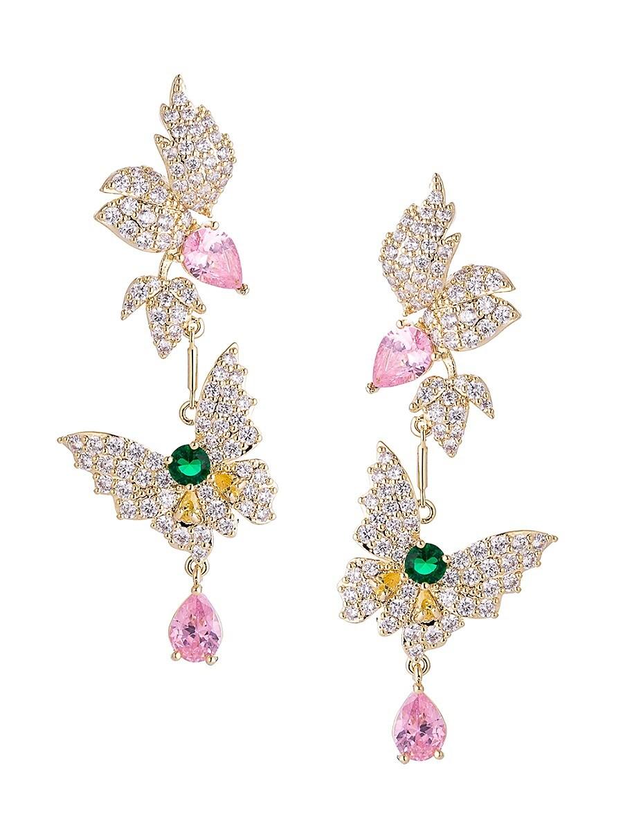 Women's Luxe Butterfly Multicolored Crystal Drop Earrings