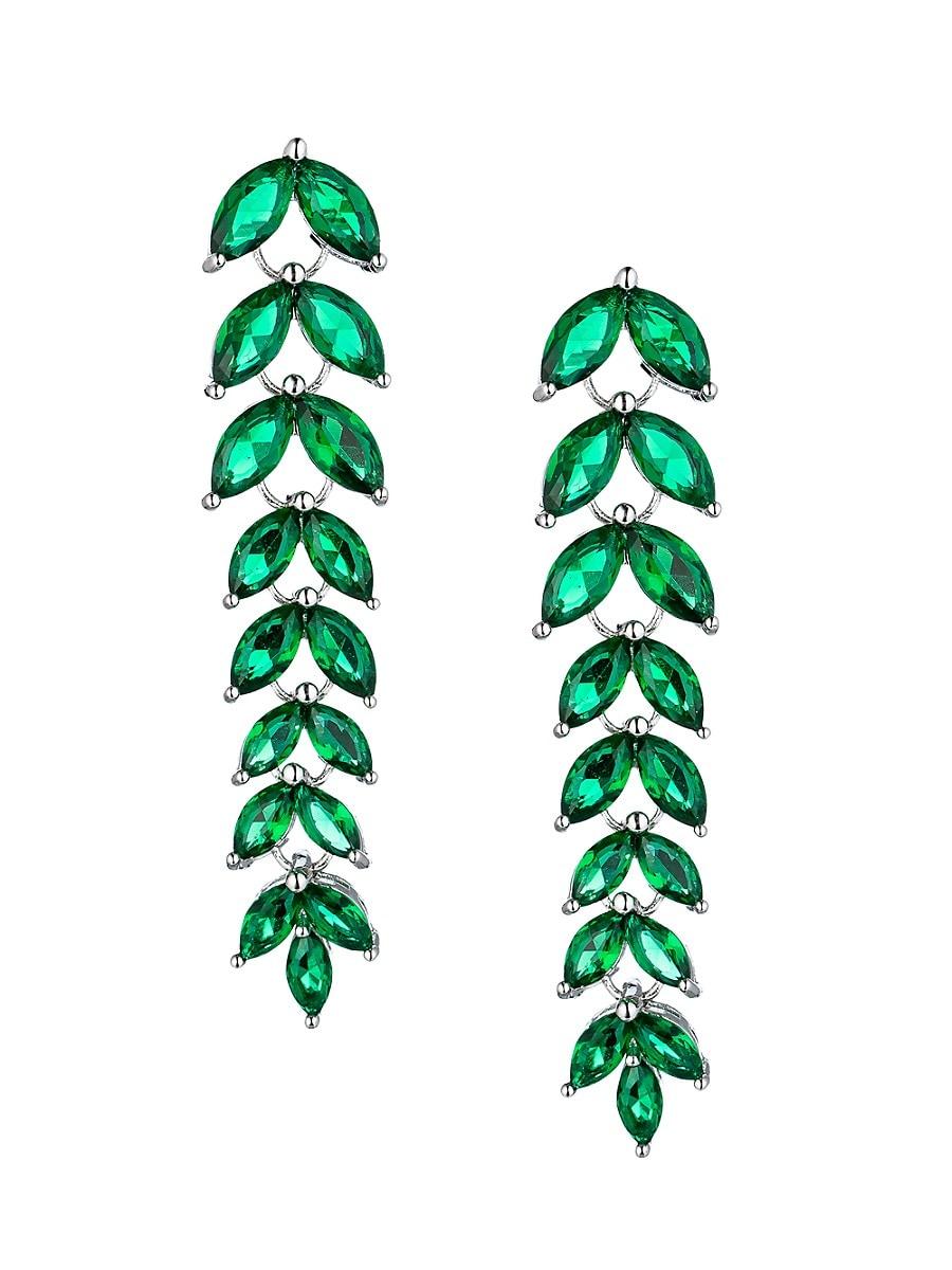 Women's Luxe Emerald Green Crystal Drop Earrings