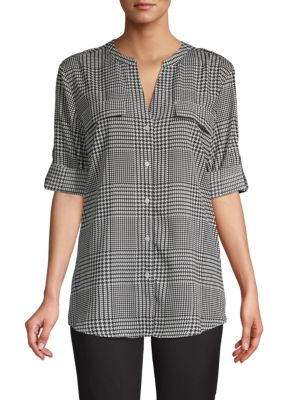 Calvin Klein Collection Rolled-Sleeve Button-Front Plaid Blouse In Black White