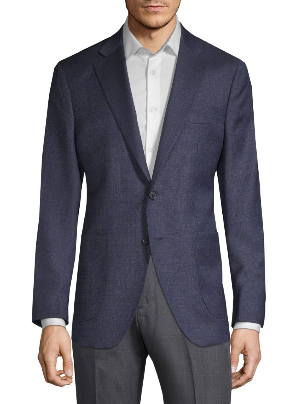 Saks Fifth Avenue Made in Italy Textured Wool & Silk-Blend Sportcoat