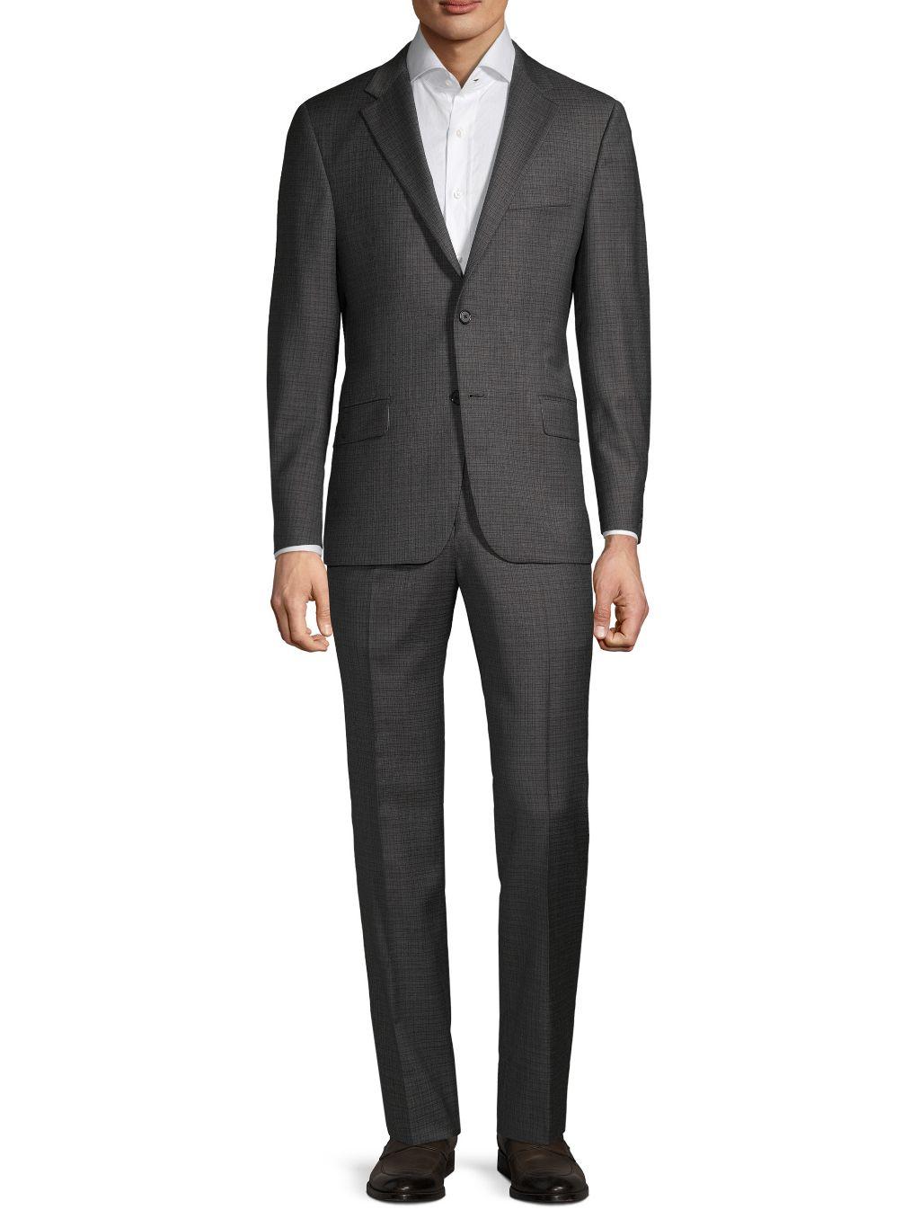 Hickey Freeman Regular-Fit Plaid Wool Suit