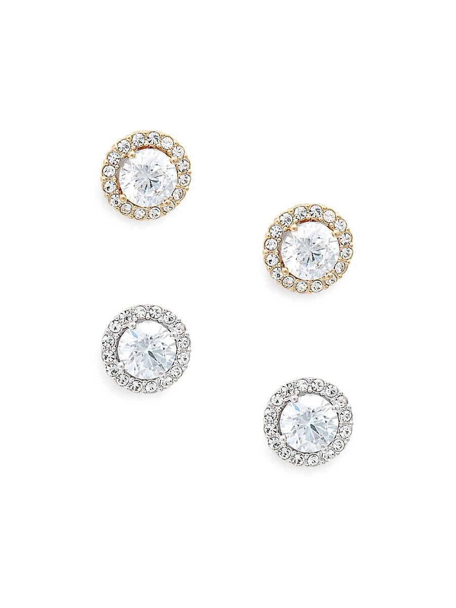 Women's 2-Pair Goldtone & Crystal Stud Earrings