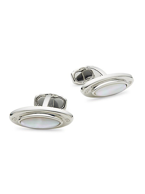Thompson of London Rhodium-Plated Mother-Of-Pearl Oval Cufflinks