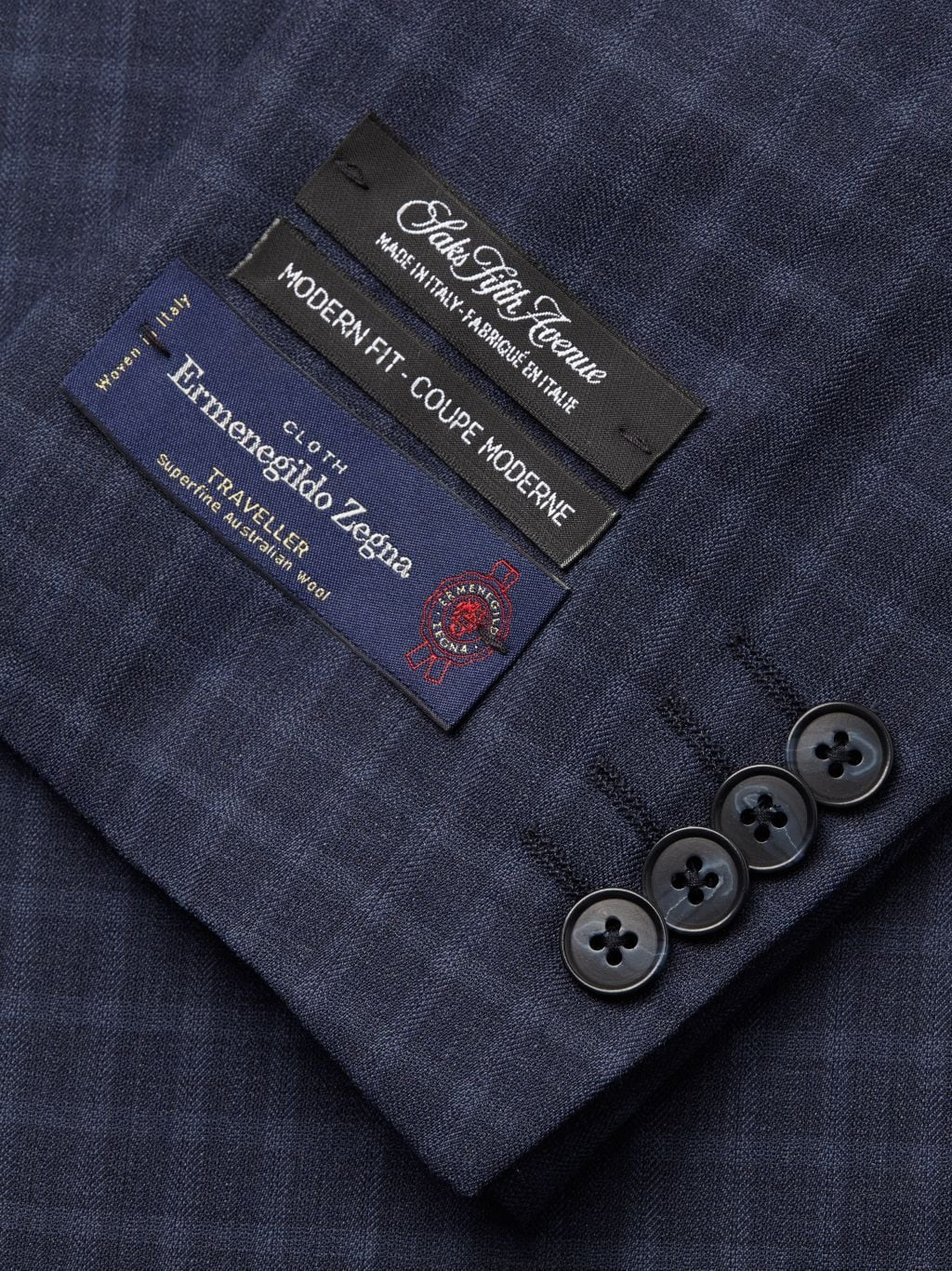 Saks Fifth Avenue Made in Italy Modern-Fit Check Wool Suit