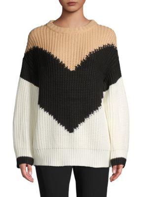Haute Rogue Colorblock Knit Sweater In White Multi