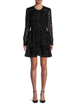 Ruffle Trimmed Velvet Mini Dress by Allison New York