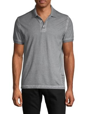 Zadig & Voltaire Short-sleeve Dyed Cotton Polo In Light Grey