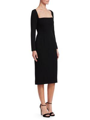 Lela Rose Dresses Wool Crepe Fitted Sheath Dress