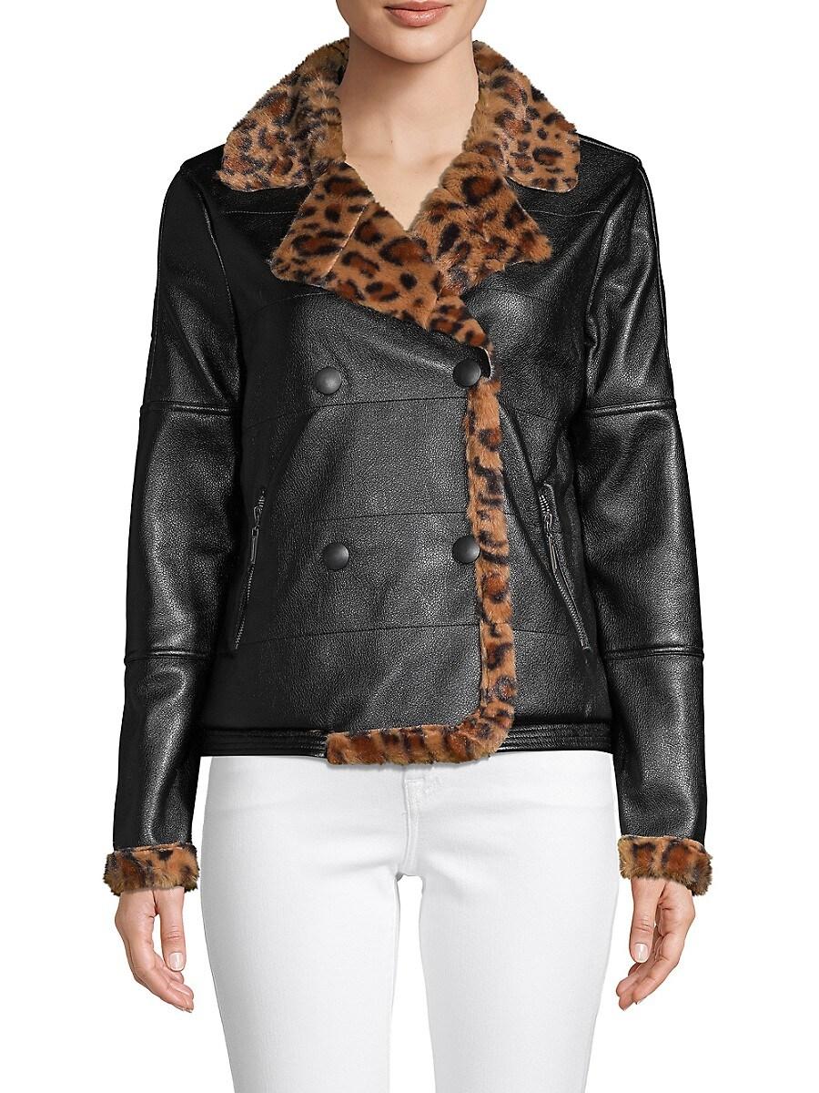 Women's Notch Lapel Faux Fur-Lined Double-Breasted Jacket