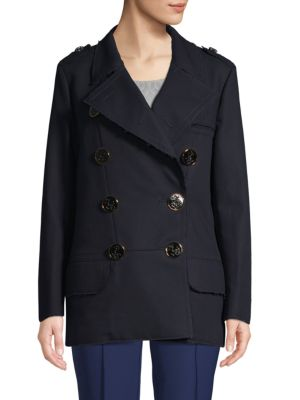 Dolce & Gabbana Double Breasted Cotton Coat In Navy