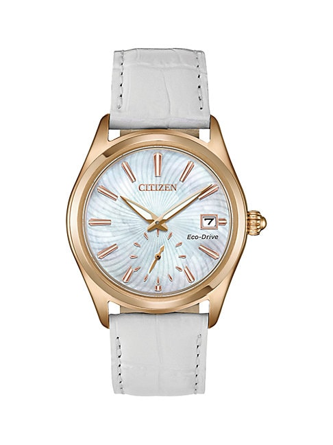 Citizen Cases CORSO ROSE-GOLDTONE WHITE LEATHER STRAP WATCH