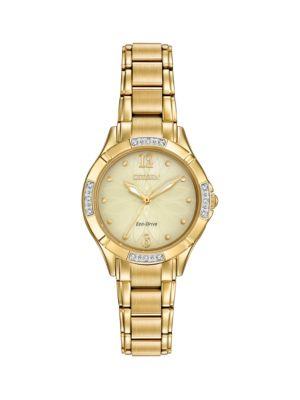 Citizen EM0452-58P Diamond Goldtone Stainless Steel & Diamond Bracelet Watch
