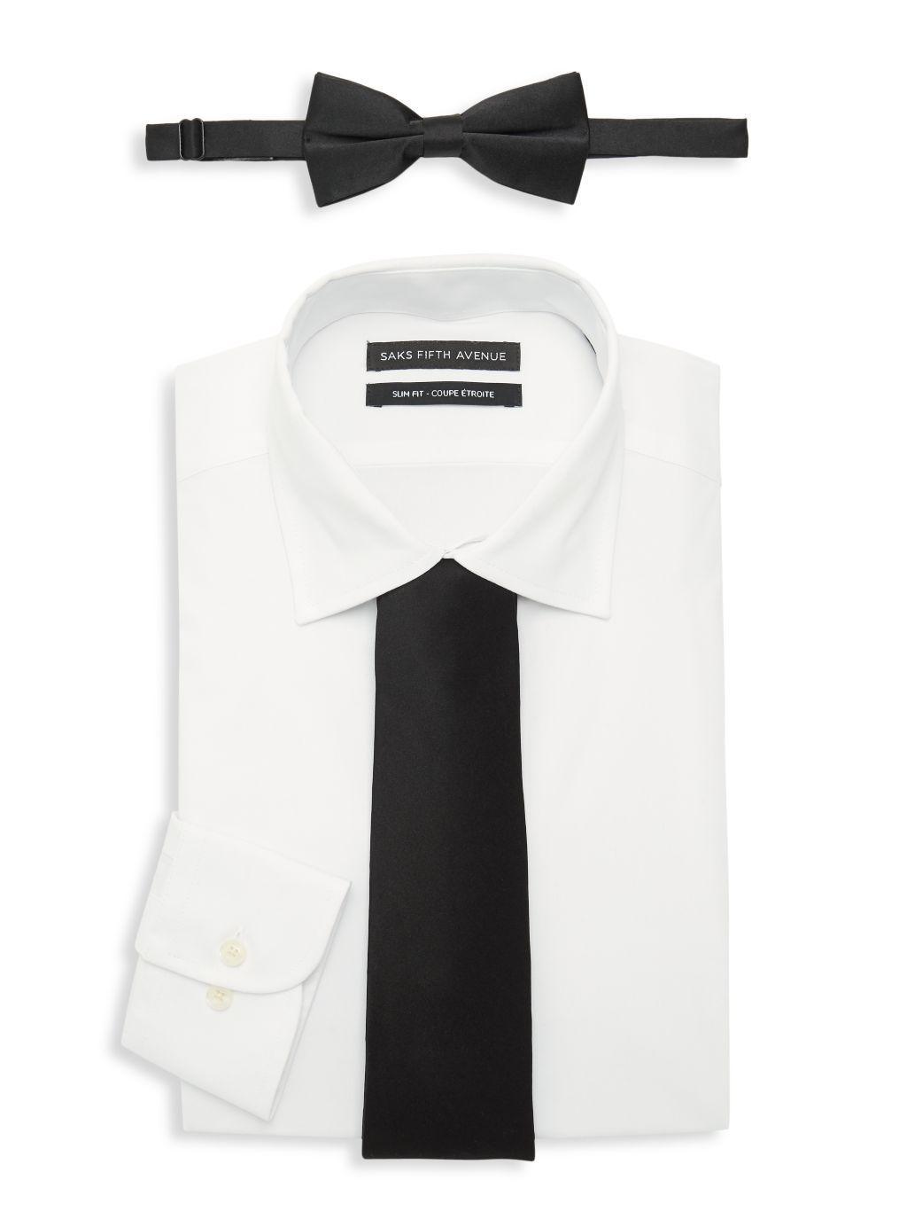 Saks Fifth Avenue 3-Piece Slim-Fit Dress Shirt, Bow Tie & Tie Set