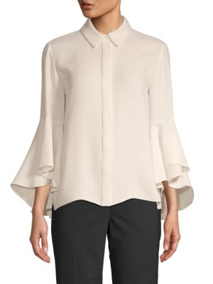 Carolina Herrera T-shirts Flutter-Sleeve Silk Shirt