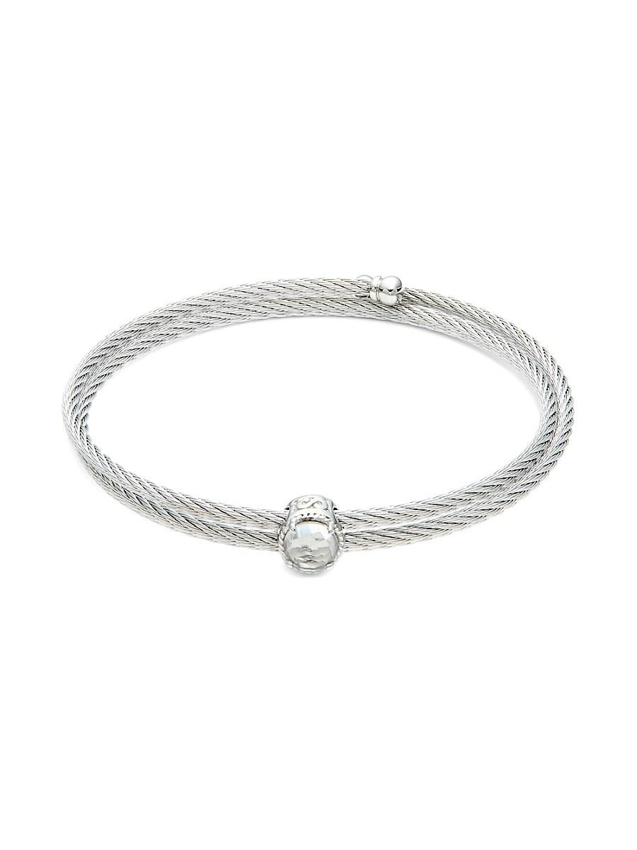 Women's Stainless Steel & White Topaz Cuff Bracelet
