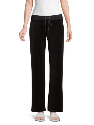 Juicy Couture Velour Pants In Pitch Black