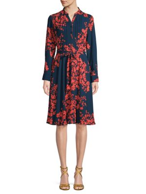 Nanette Lepore Floral-print Pleated Knee-length Dress In Navy Coral