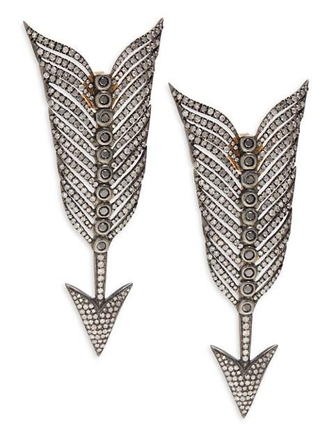 Artisan 18K Yellow Gold, Rhodium-Plated & Pavé Diamond Arrow Drop Earrings