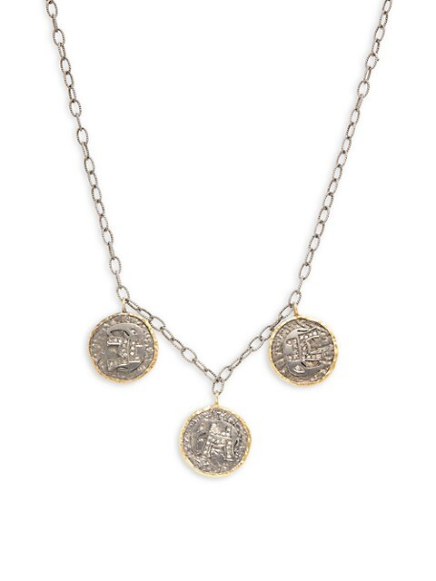 Artisan 18K Yellow Gold, Sterling Silver & Diamond Elephant Coin Necklace