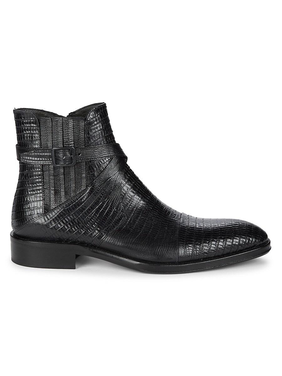 Jo Ghost Men's Lizard-Embossed Leather Boots - Black - Size 13
