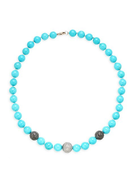 Artisan Sterling Silver, Turquoise & Diamond Bead Necklace