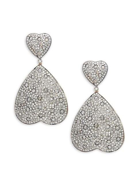 Artisan 14K Gold, 925 Sterling Silver & Diamond Heart Drop Earrings
