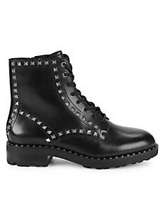 아쉬 부츠 ASH Wolf Studded Leather Combat Boots,BLACK