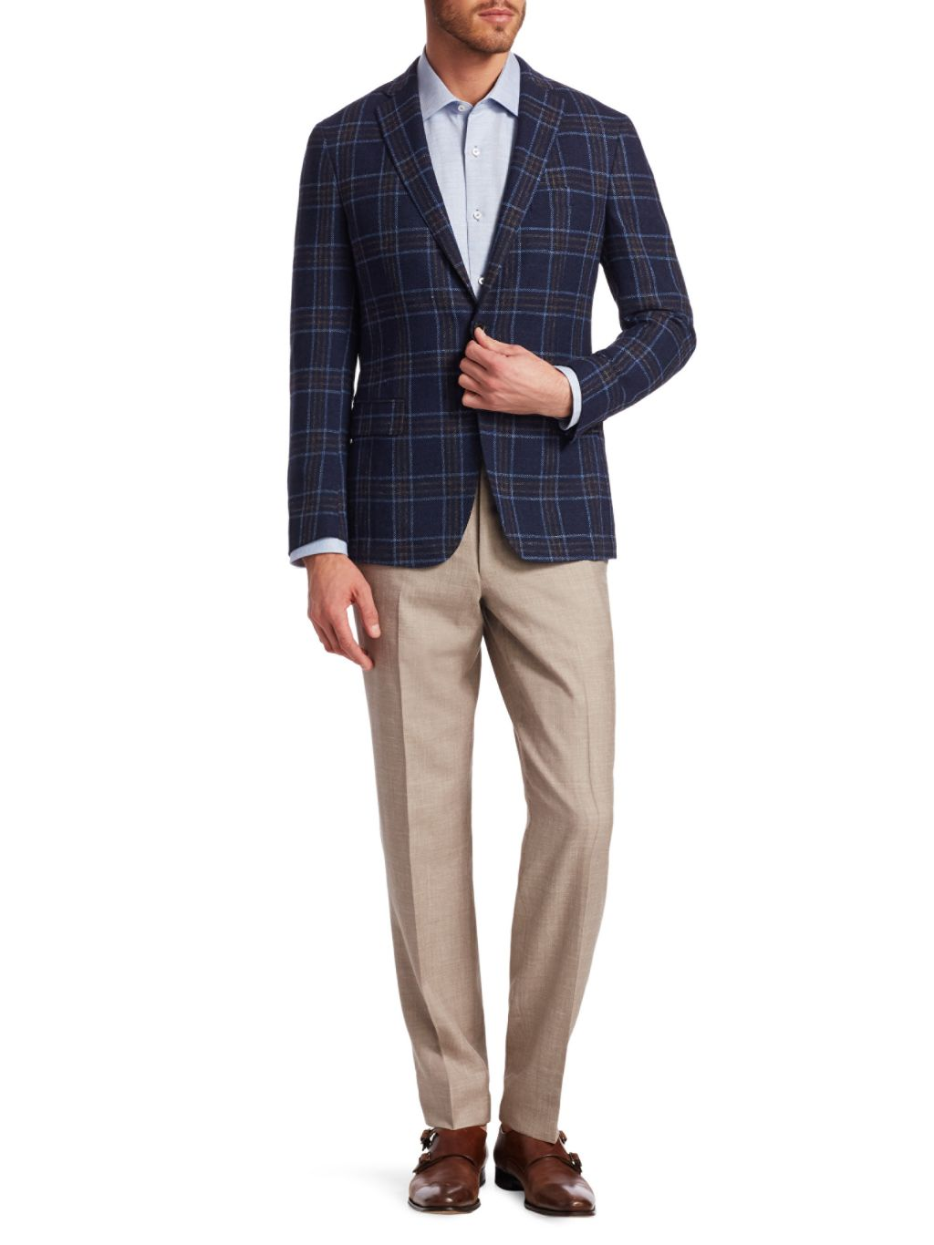 Saks Fifth Avenue COLLECTION Boucle Plaid Sportcoat