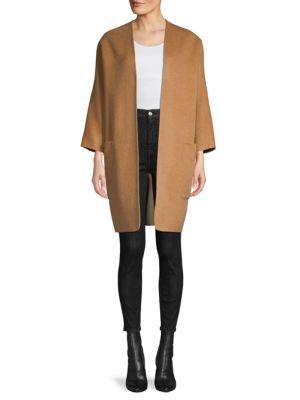 Vince Coats Reversible Open-Front Wool-Blend Coat