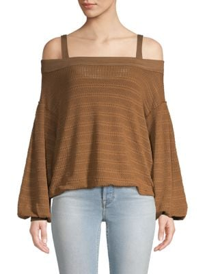 Free People Textured Off-The-Shoulder Top In Moss