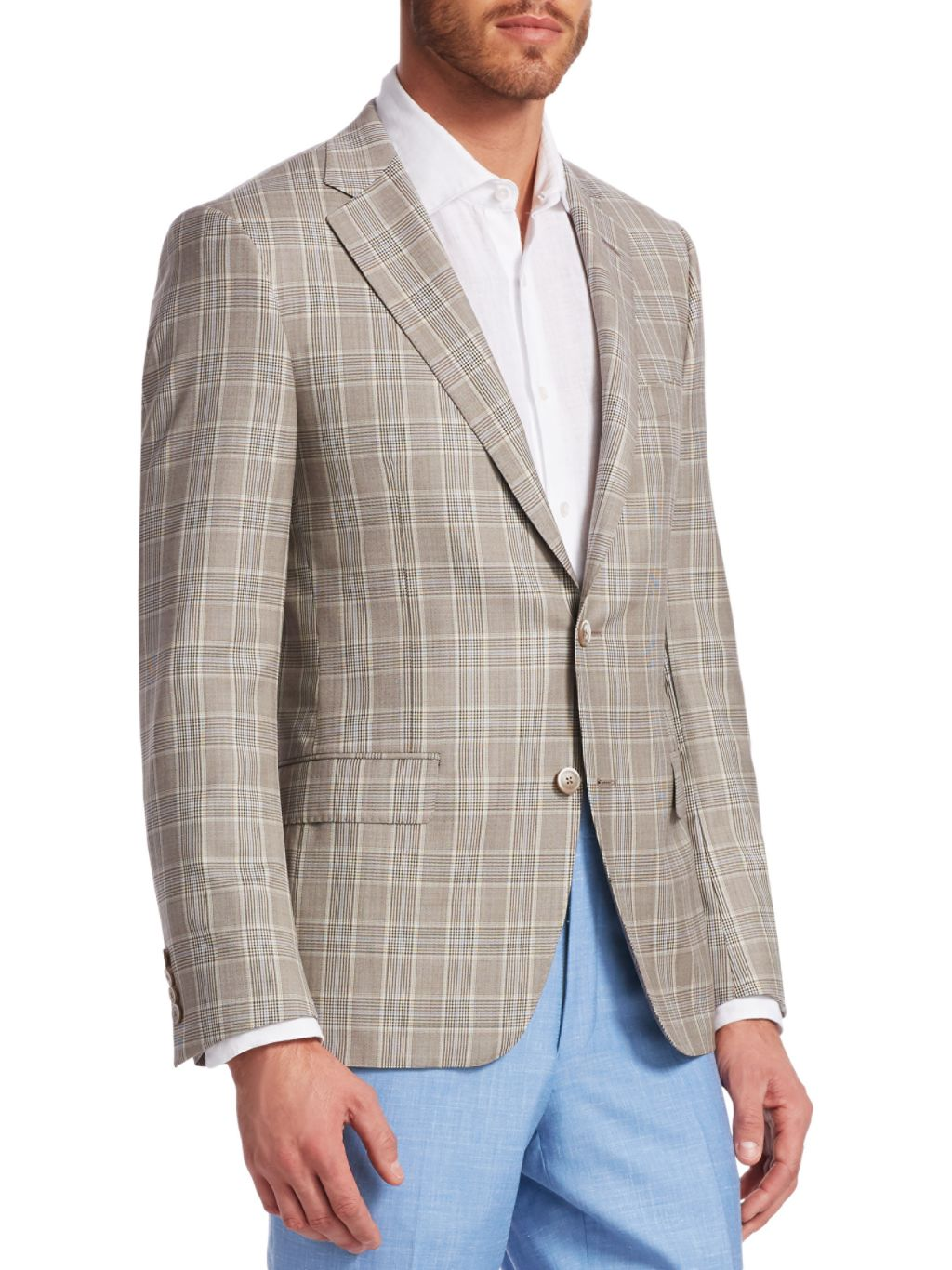 Saks Fifth Avenue COLLECTION BY SAMUELSOHN Prince of Wales Plaid Wool Sportcoat