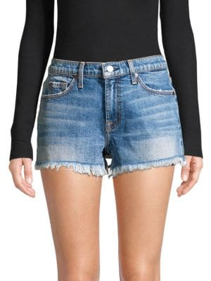 7 For All Mankind Cut-off Denim Shorts In Blue