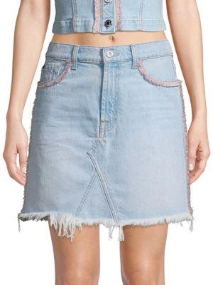7 For All Mankind Skirts Fringed Denim Mini Skirt