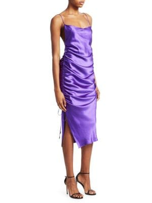 Galvan YASMINE SILK RUCHED MIDI DRESS